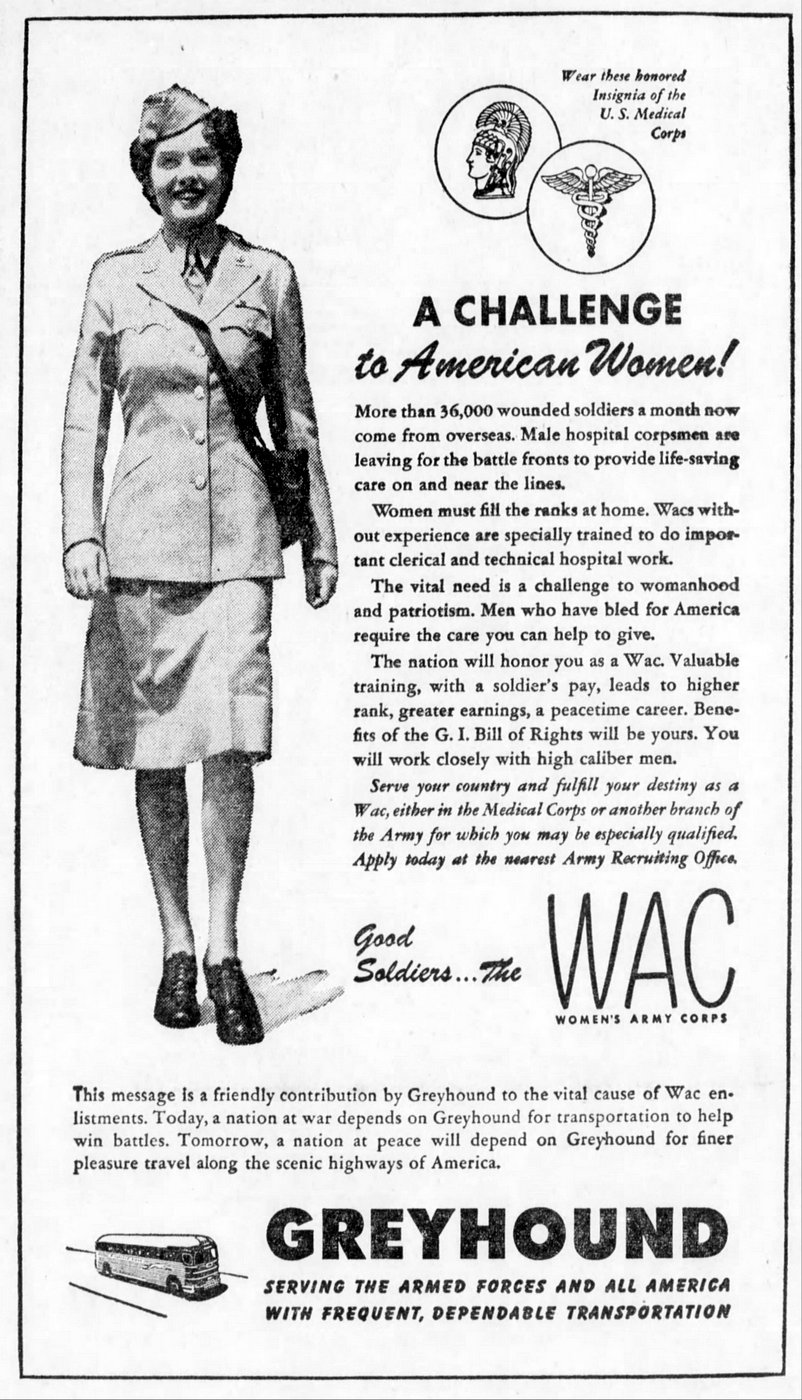 Greyhound Buses for WAC women - May 1945