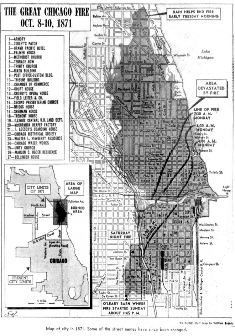 Great Chicago fire map of burned areas during 1871