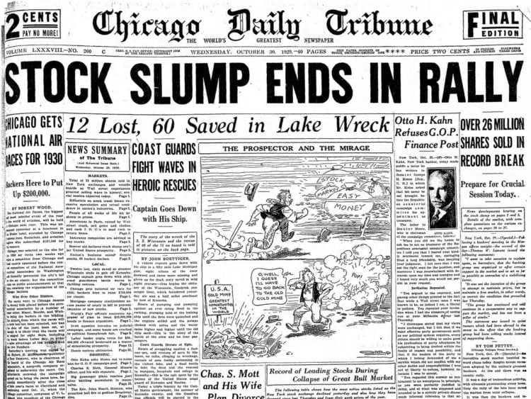 The Great Depression Newspaper headlines from 1929 - Stock Slump Ends in Rally