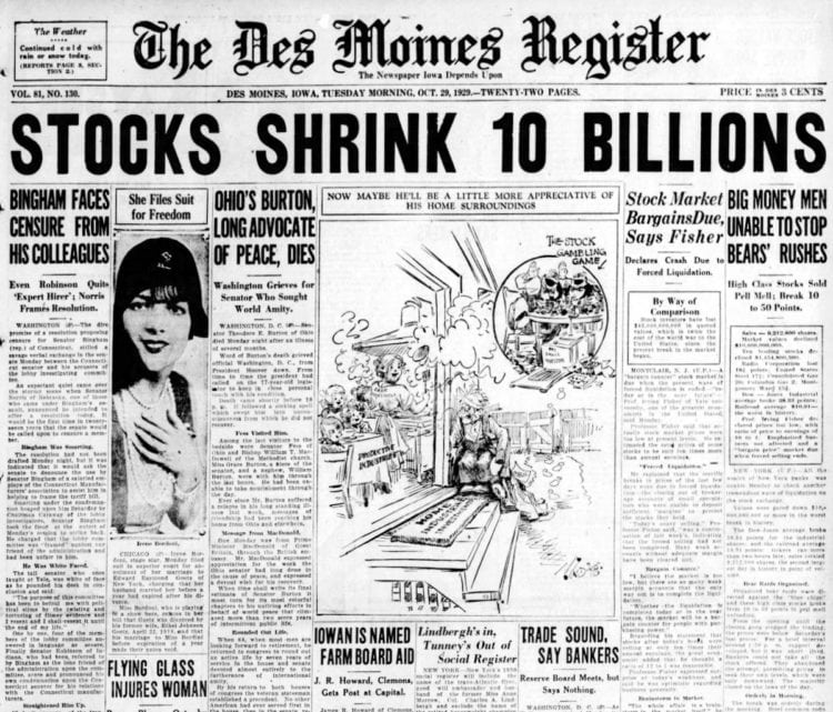 Great Depression Newspaper headlines from 1929 - Stocks Shrink 10 Billions