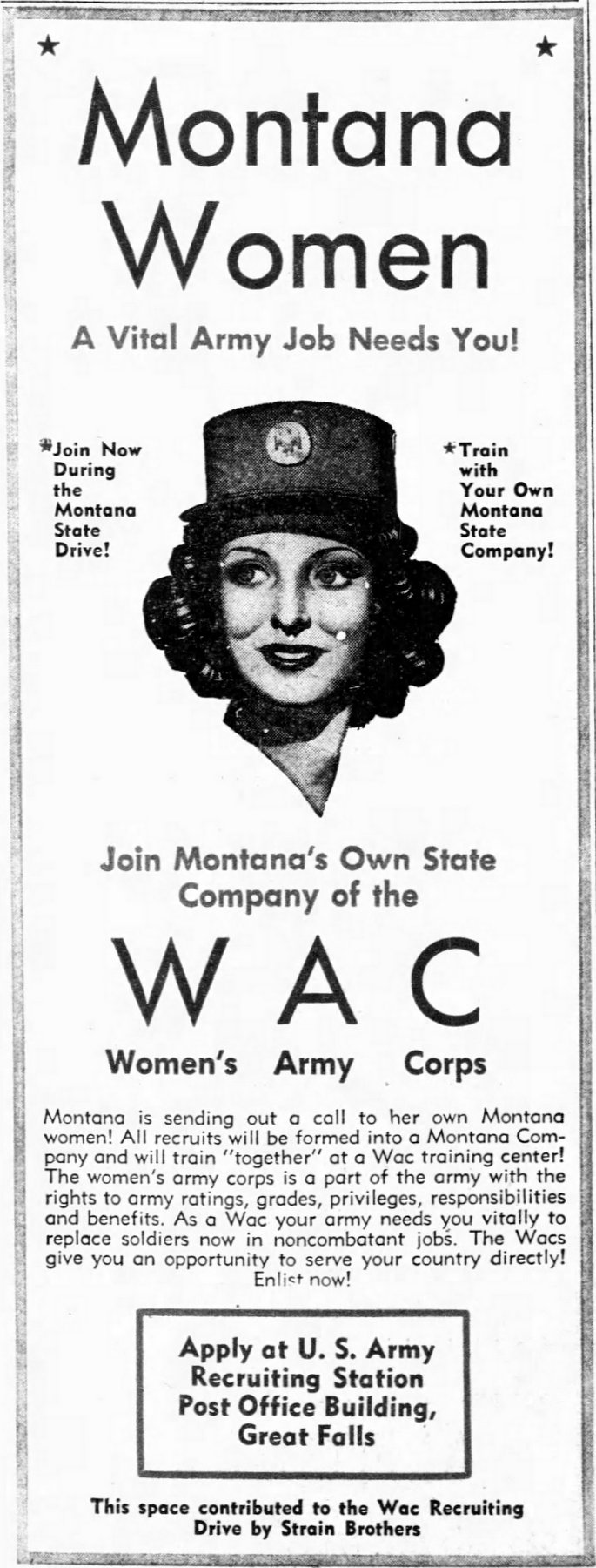 Great Falls Montana call for WAC - Nov 1943