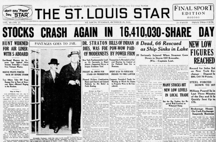 The Great Depression Newspaper headlines from 1929 - Stocks Crash Again in 16,410,030-Share Day