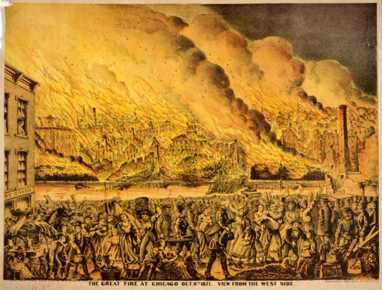 Great fire at Chicago Oct. 9th 1871. View from the west side