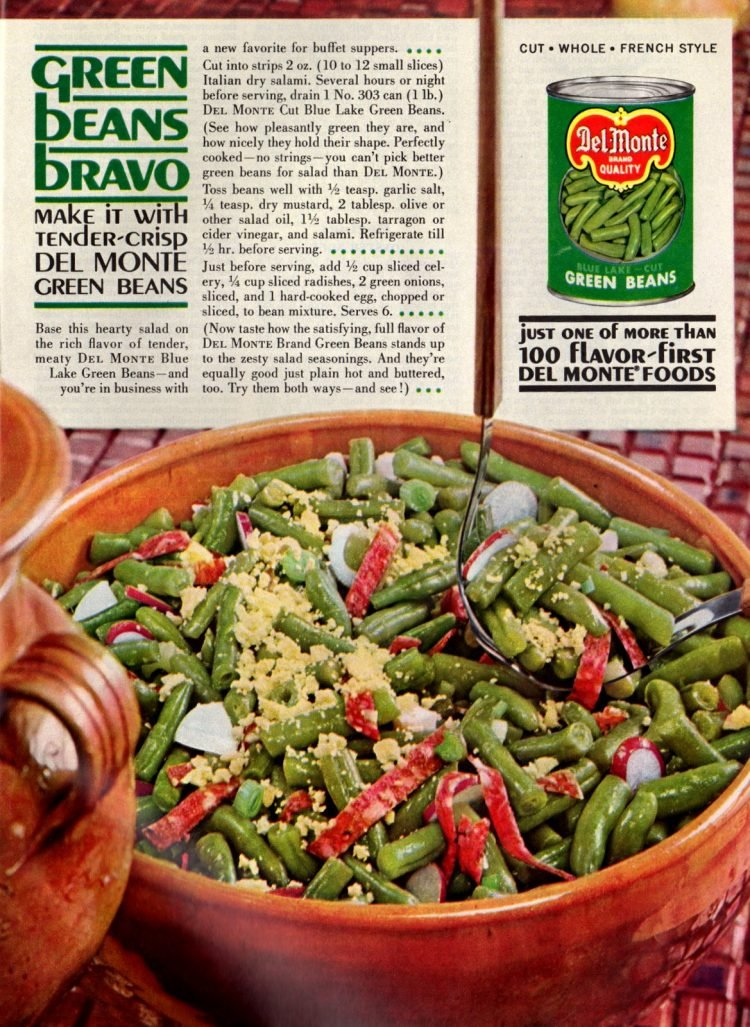 Green Beans Bravo vintage '60s salad recipe