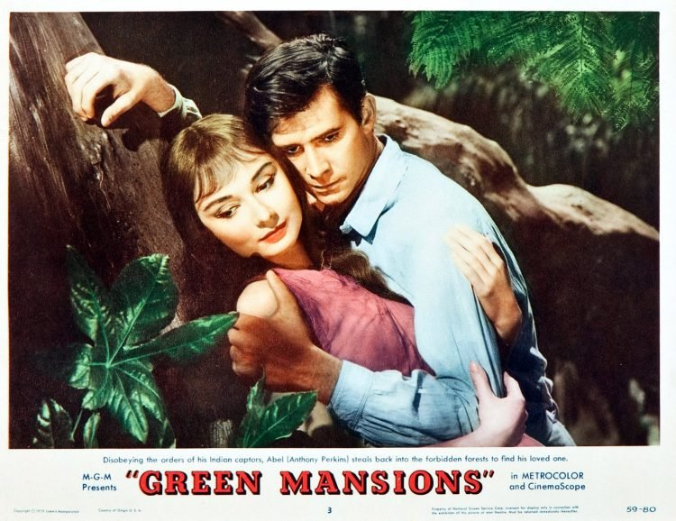 Green Mansions movie lobby card - Hepburn and Hopkins