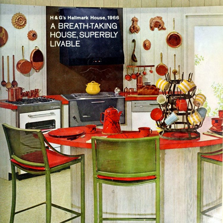 Green and red kitchen decor from the sixties - 1966