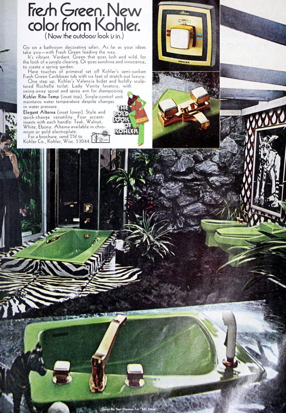 Green bathroom tub sink toilet and bidet (1971)
