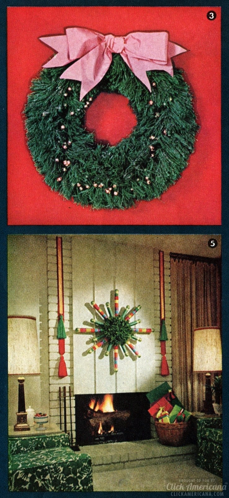 Retro holiday decor - Green burlap wreath craft and Cardboard starburst for Christmas