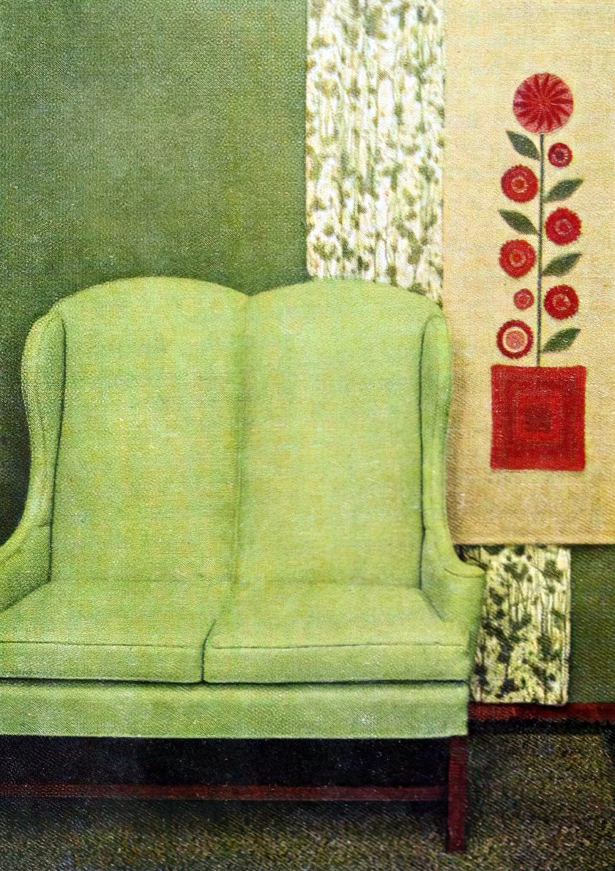 Green faux leather high-backed loveseat from 1960