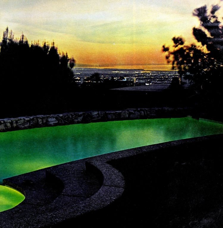 Green lit retro 60s swimming pool design (2)