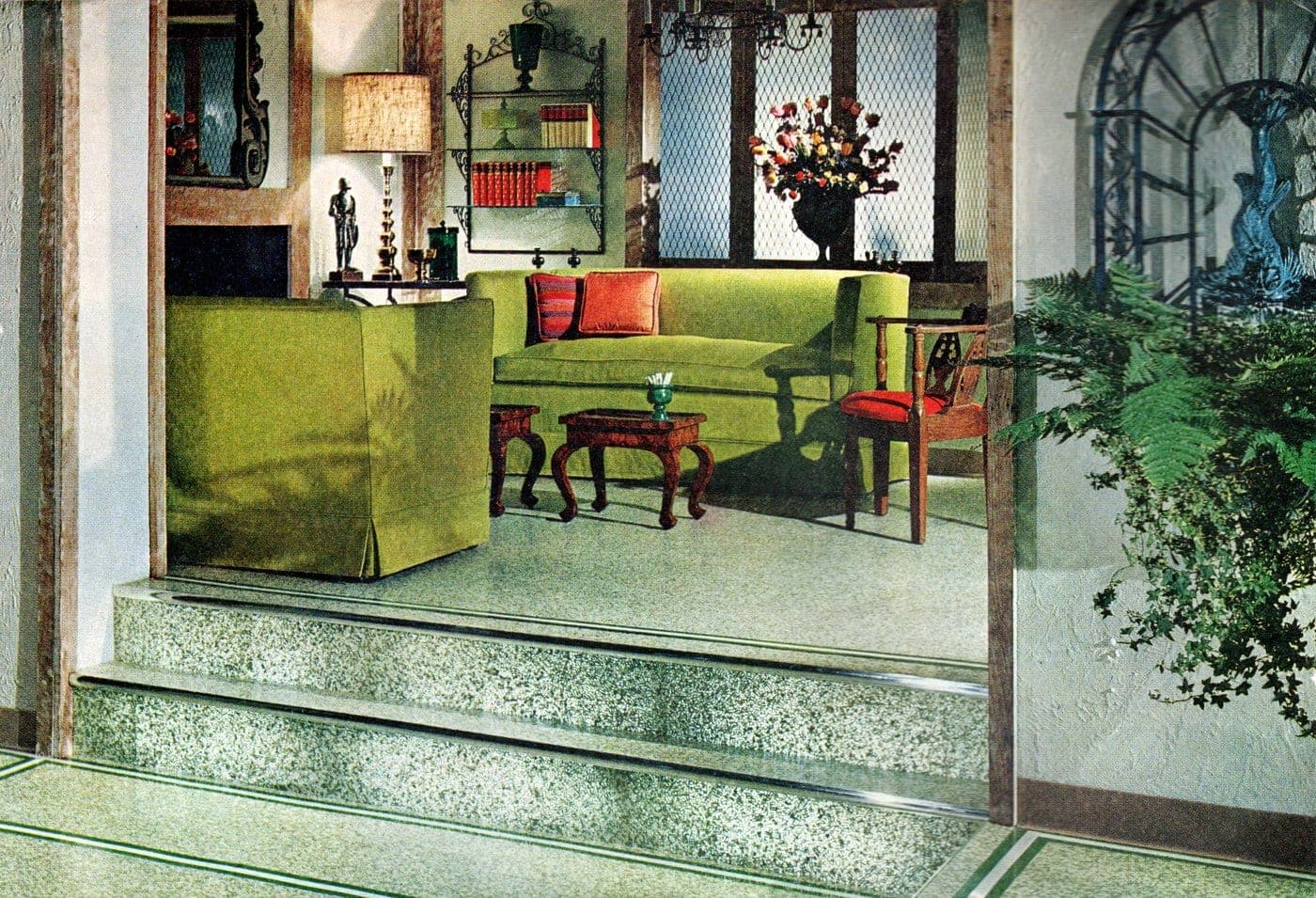 Green living room sofas from 1961
