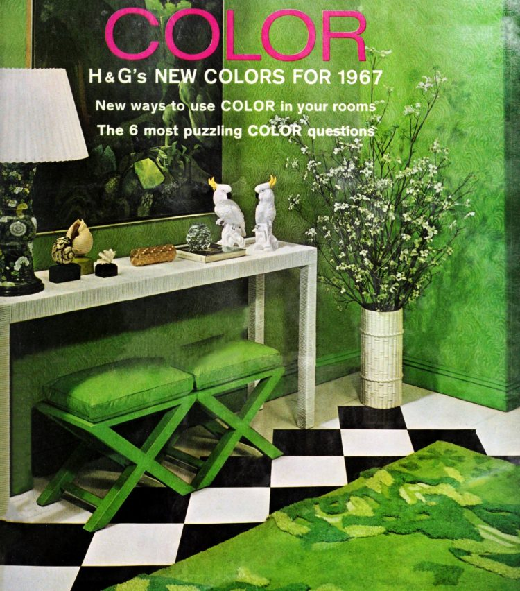 Green midcentury entryway decor from 1966