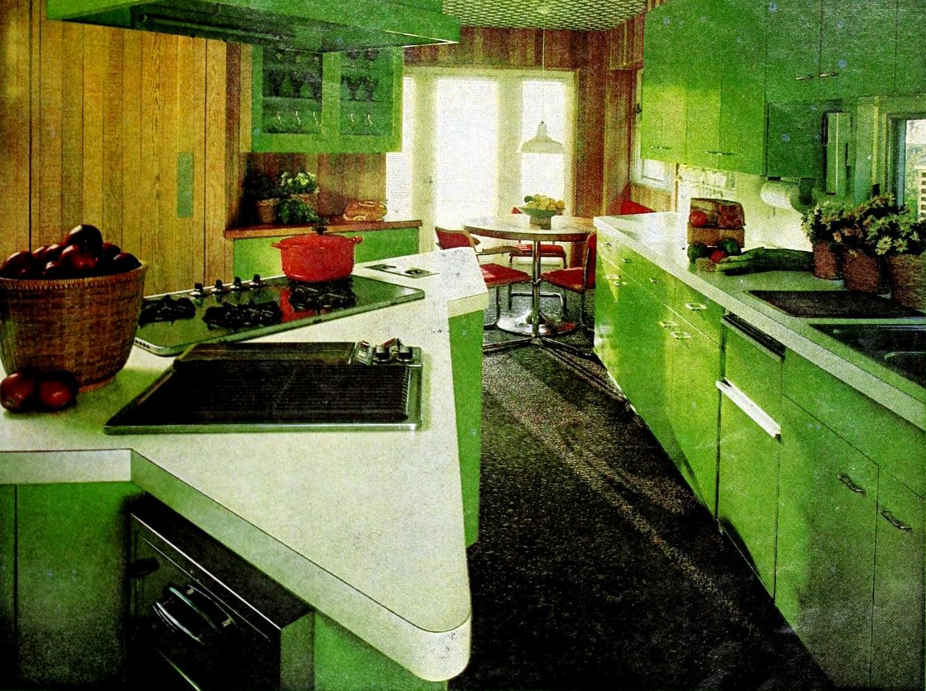 Green retro kitchen with funky pointed kitchen island (1976)