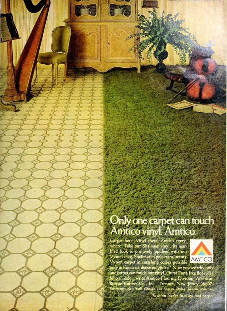Green shag family room carpet and vinyl flooring 1970