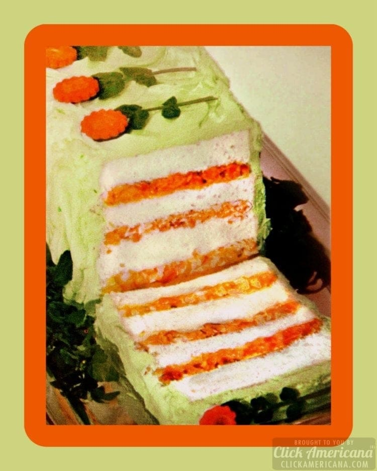 Green shrimp-celery-carrot-egg salad loaf sandwiches