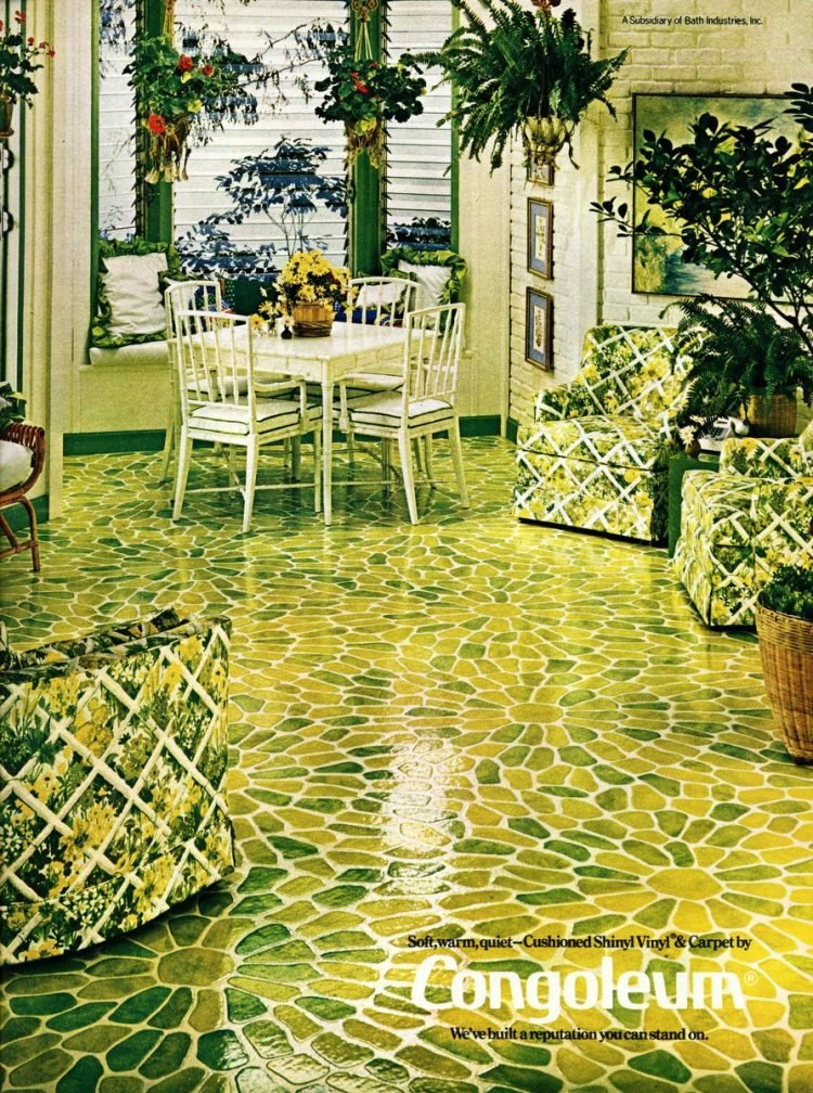 Green vintage congoleum floors lattice 1974