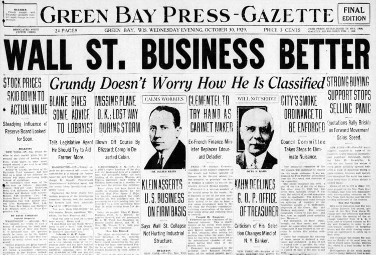 The Great Depression Newspaper headlines from 1929 - Wall St. Business Better