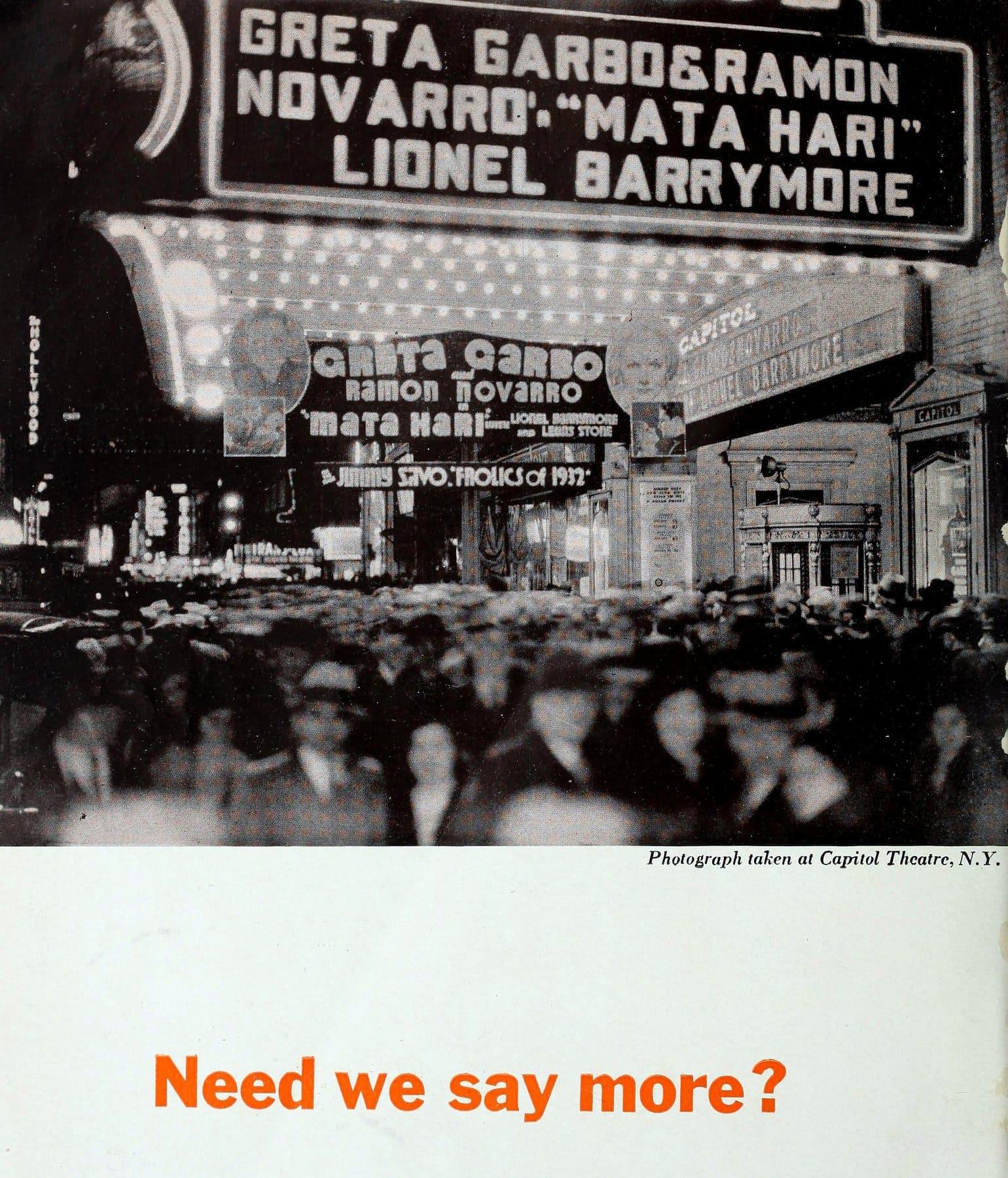 Greta Garbo - Mata Hari movie theater marquee (1932)
