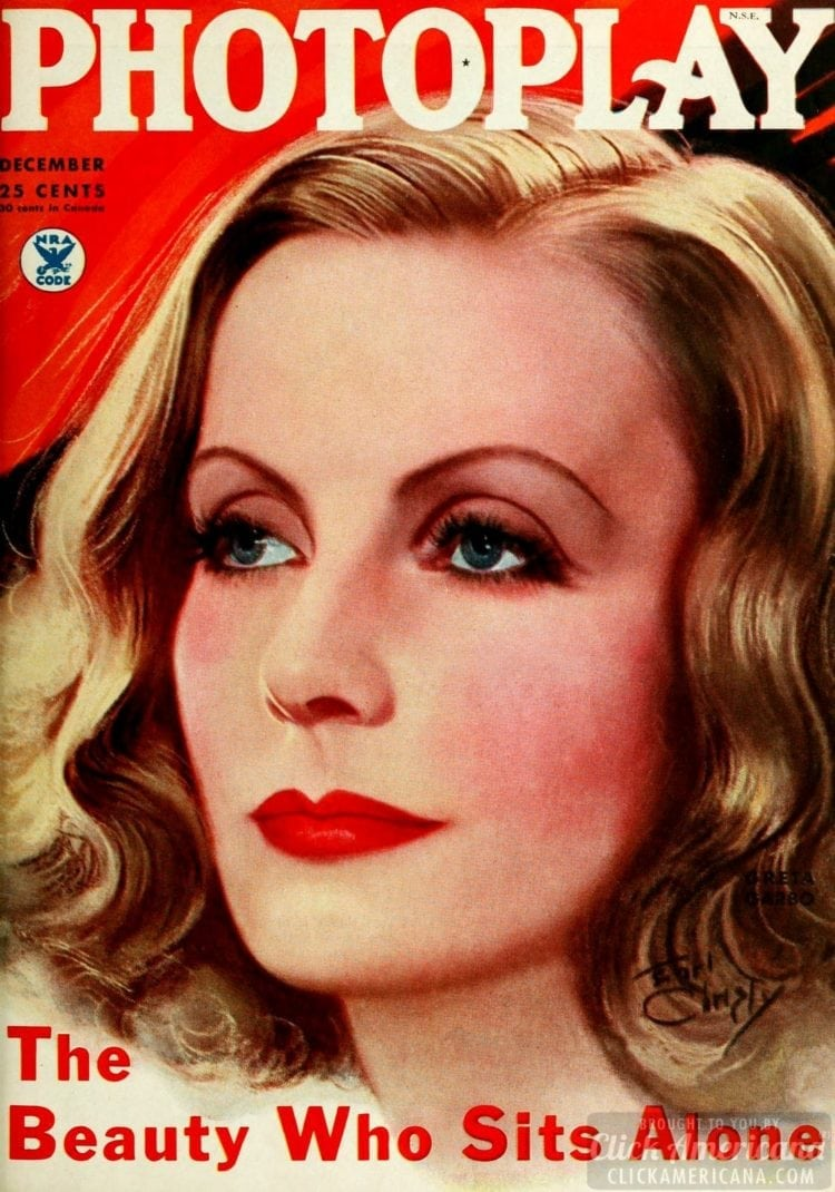 Greta Garbo on cover of Photoplay - December 1934
