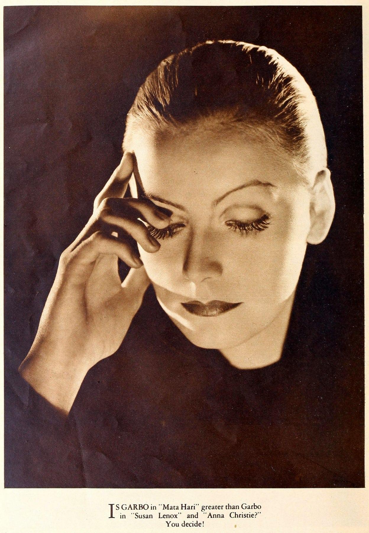 Greta Garbo with slicked-back hair (1932)