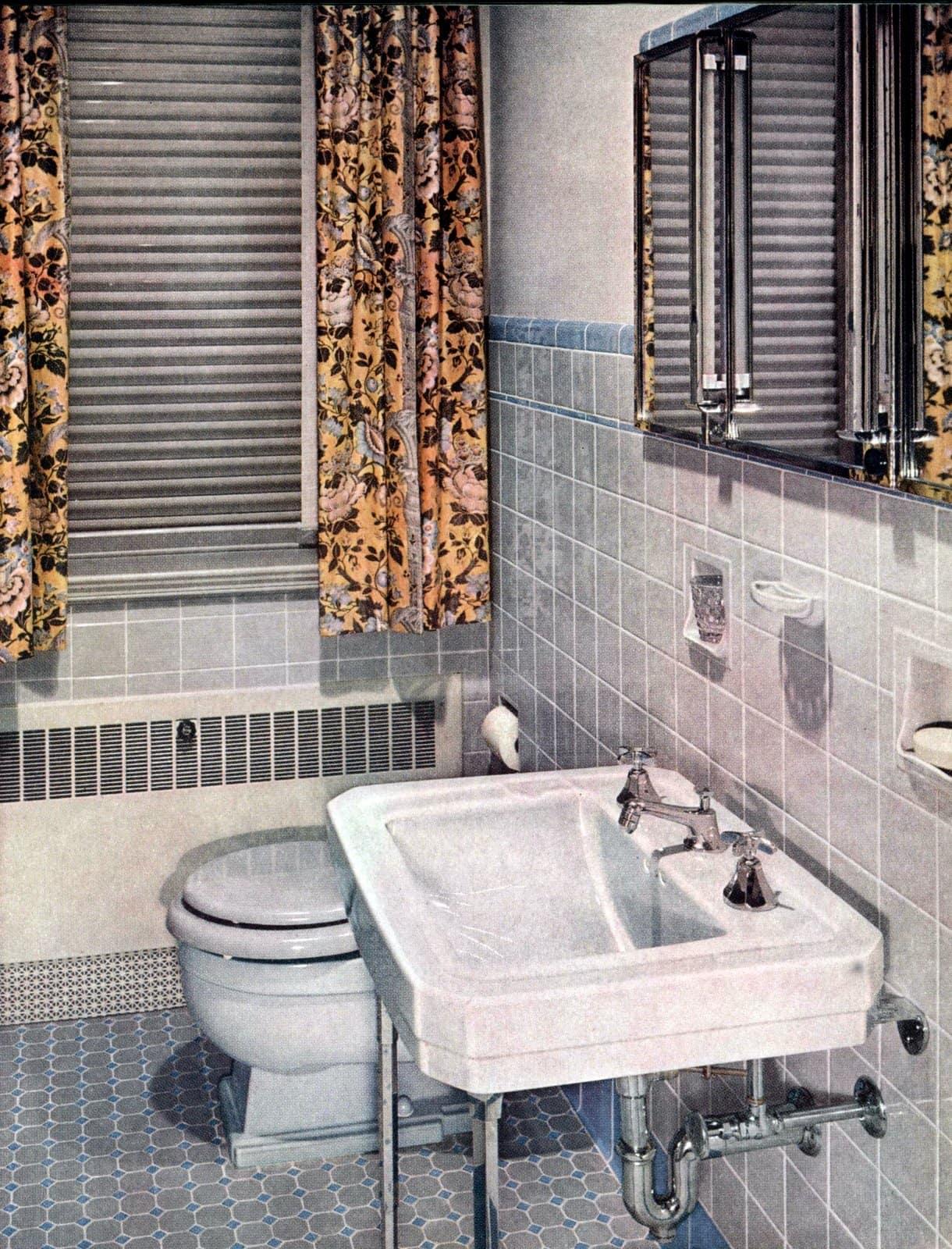 Grey tile vintage bathroom design from the 1950s