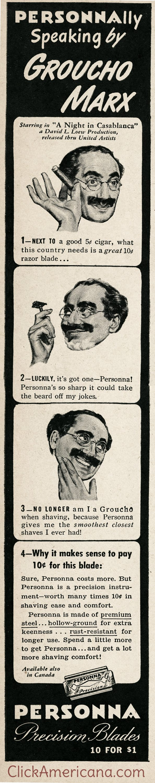 Groucho Marx for Personna blades (1946)
