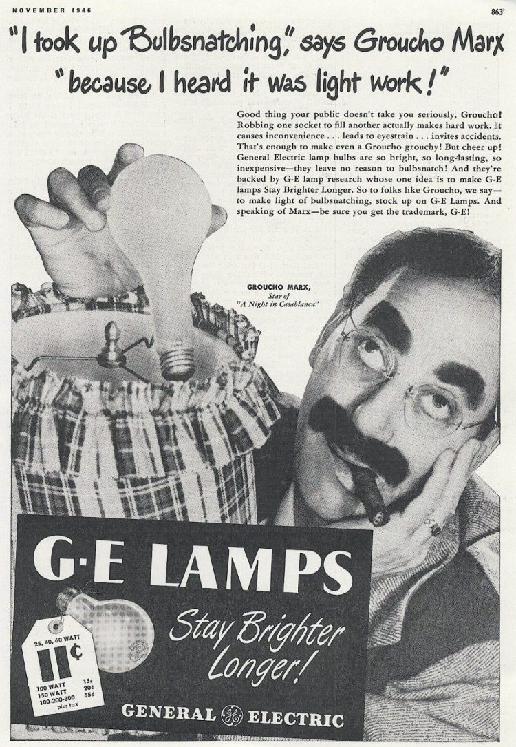 Groucho Marx vintage ad for GE Lightbulbs from 1946