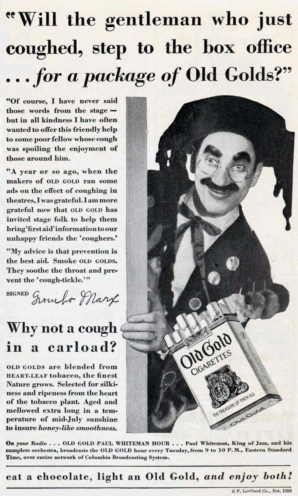 Groucho Marx vintage ads for Old Gold cigarettes