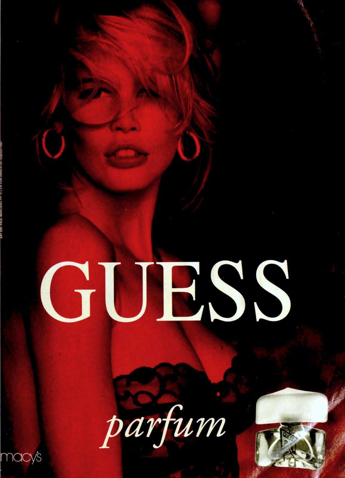 Guess parfum with Claudia Schiffer (1991) at ClickAmericana.com