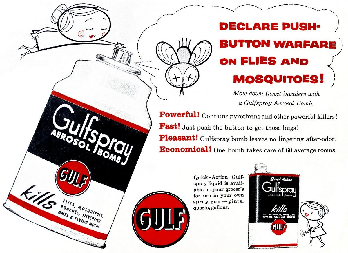 Gulfspray vintage insect killer ads from the '50s - aerosol bug bombs with pyrethrum