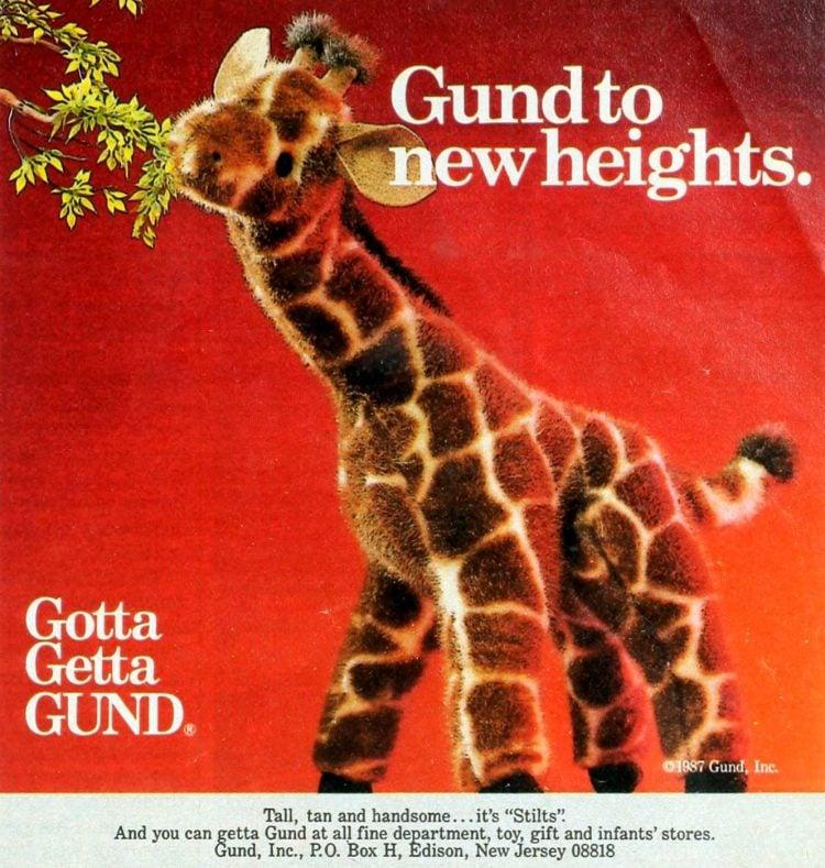Gund Stilts giraffe plush toy (1987)