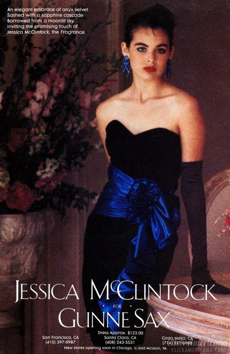 Gunne Sax 1984 blue black prom dress