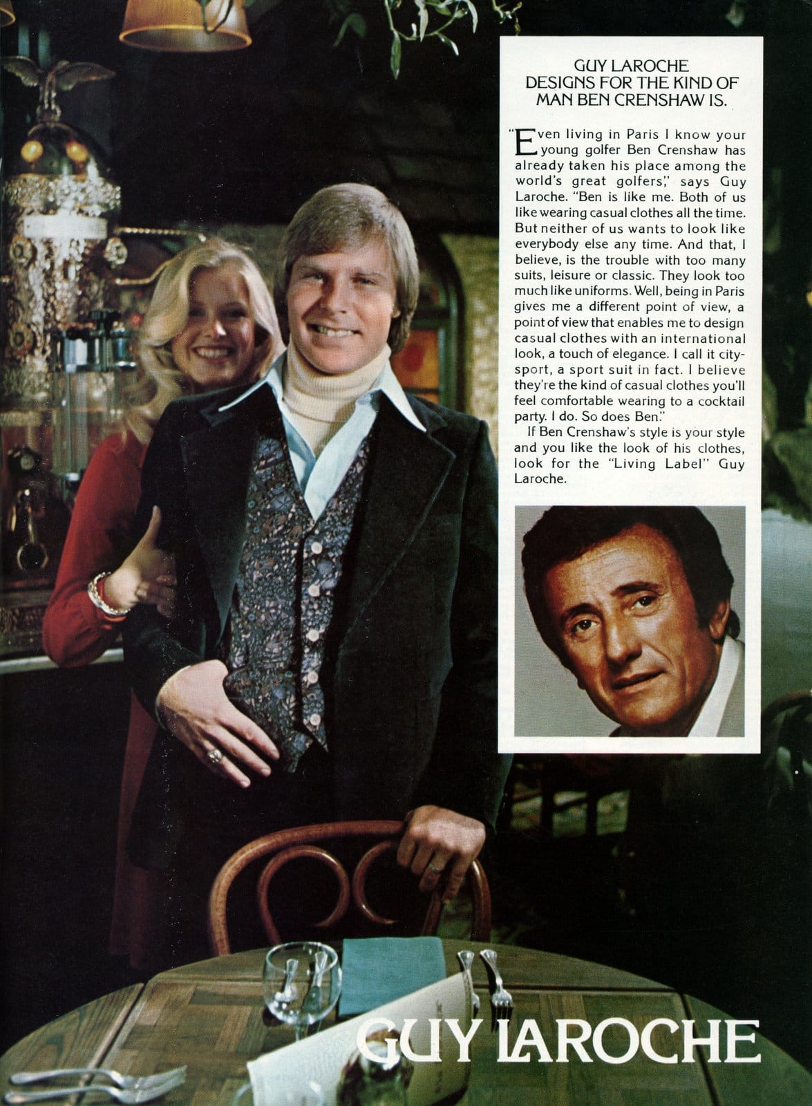 Guy Laroche designs for the kind of man Ben Crenshaw is - Suits for men from 1976