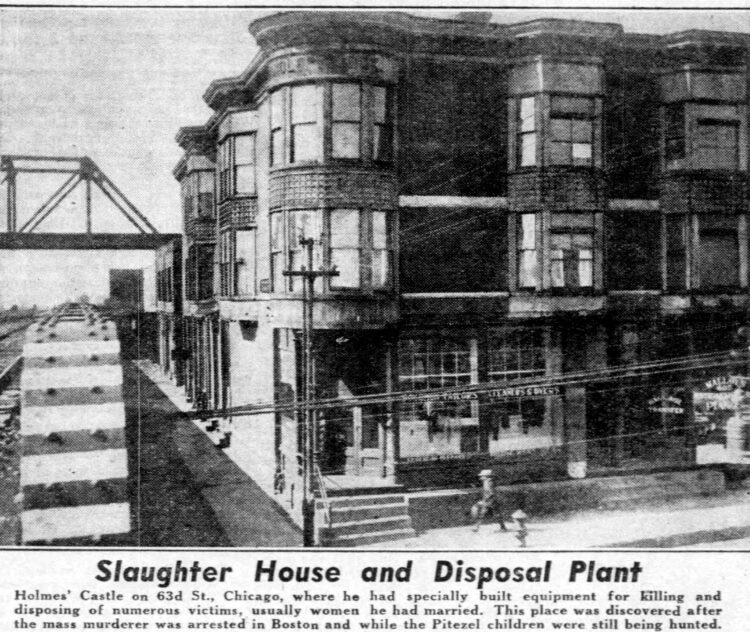Serial killer H H Holmes - Mudgett slaughterhouse and disposal plant - Murder Castle in Chicago