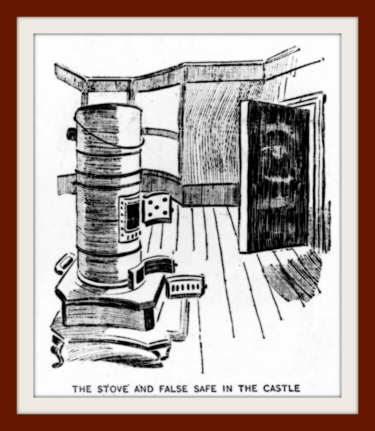 H H Holmes murder case - 1896 - Stove and false safe in the castle