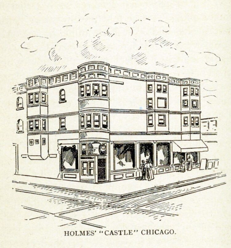 H H Holmes murder castle on a corner in Chicago Illinois