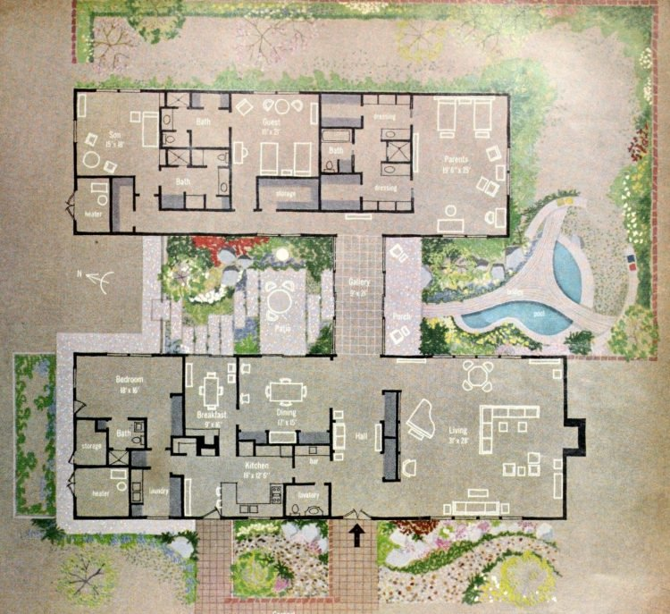 HG magazine Hallmark House 1963 - Floor plan