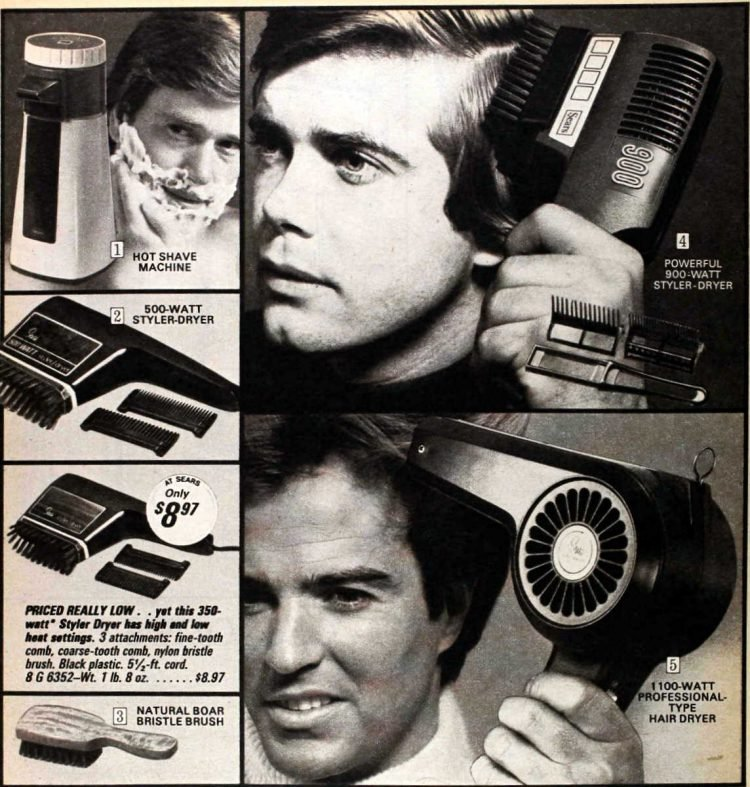 Hairdryers for men from the 70s