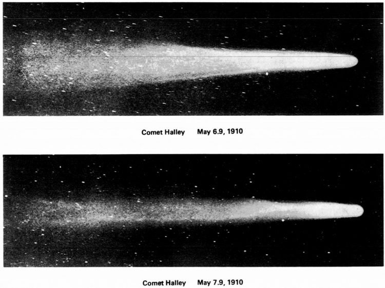 Halley's Comet as observed on 6 and 7 May 1910 at the Mt. Wilson Observatory - Via NASA
