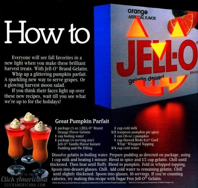 Halloween Jell-O desserts Pumpkin Parfaits