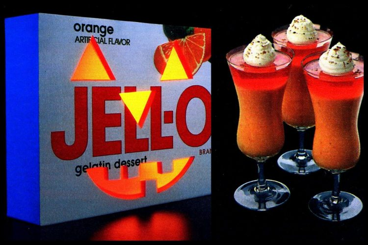 Halloween Jell-O desserts Pumpkin Parfaits, Moon Medleys, Grape Frosts (1985)