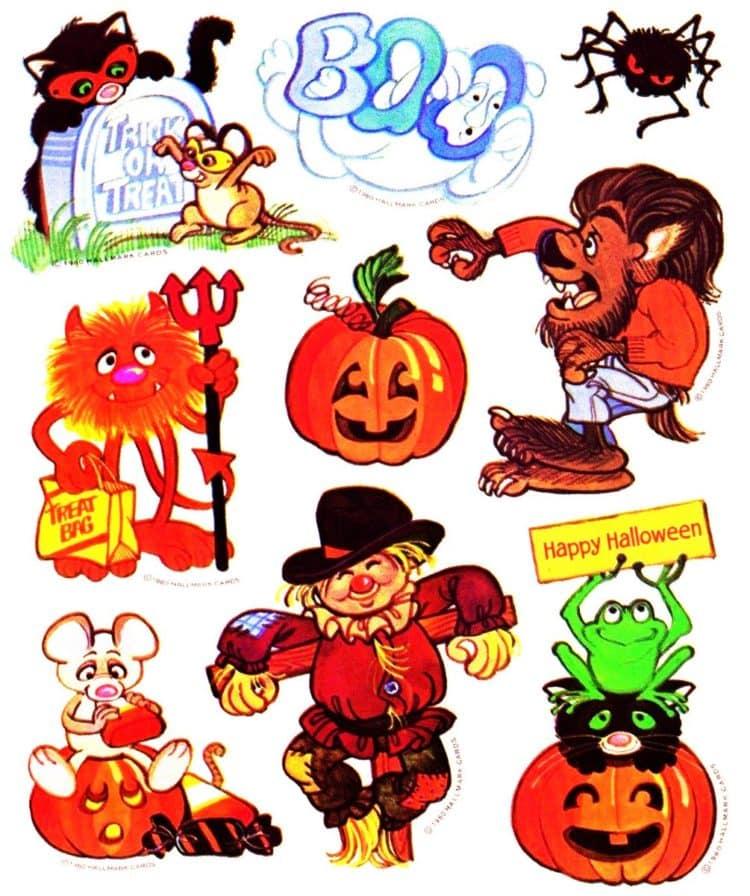 Vintage Halloween stickers - various characters pumpkins scarecrows
