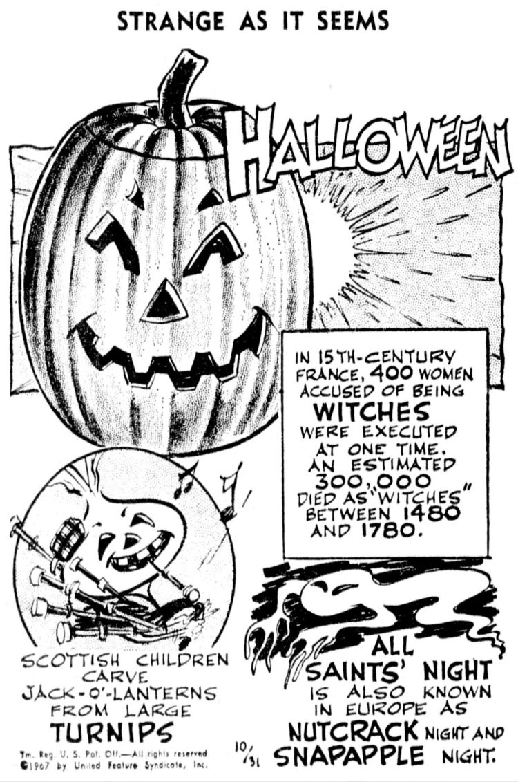 Strange Halloween facts from 1967