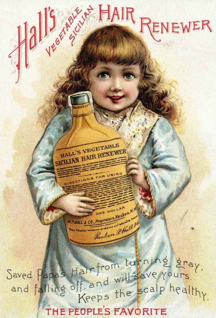 Hall's Vegetable Sicilian Hair Renewer 1880s