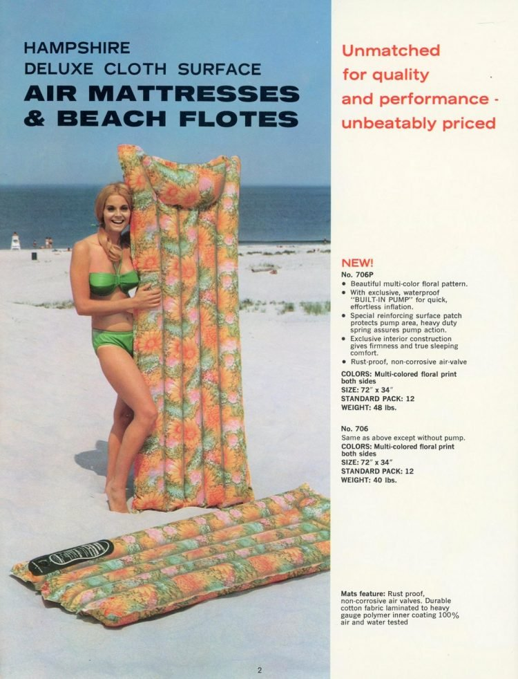 Hampshire deluxe cloth surface air mattresses - beach flotes 1969