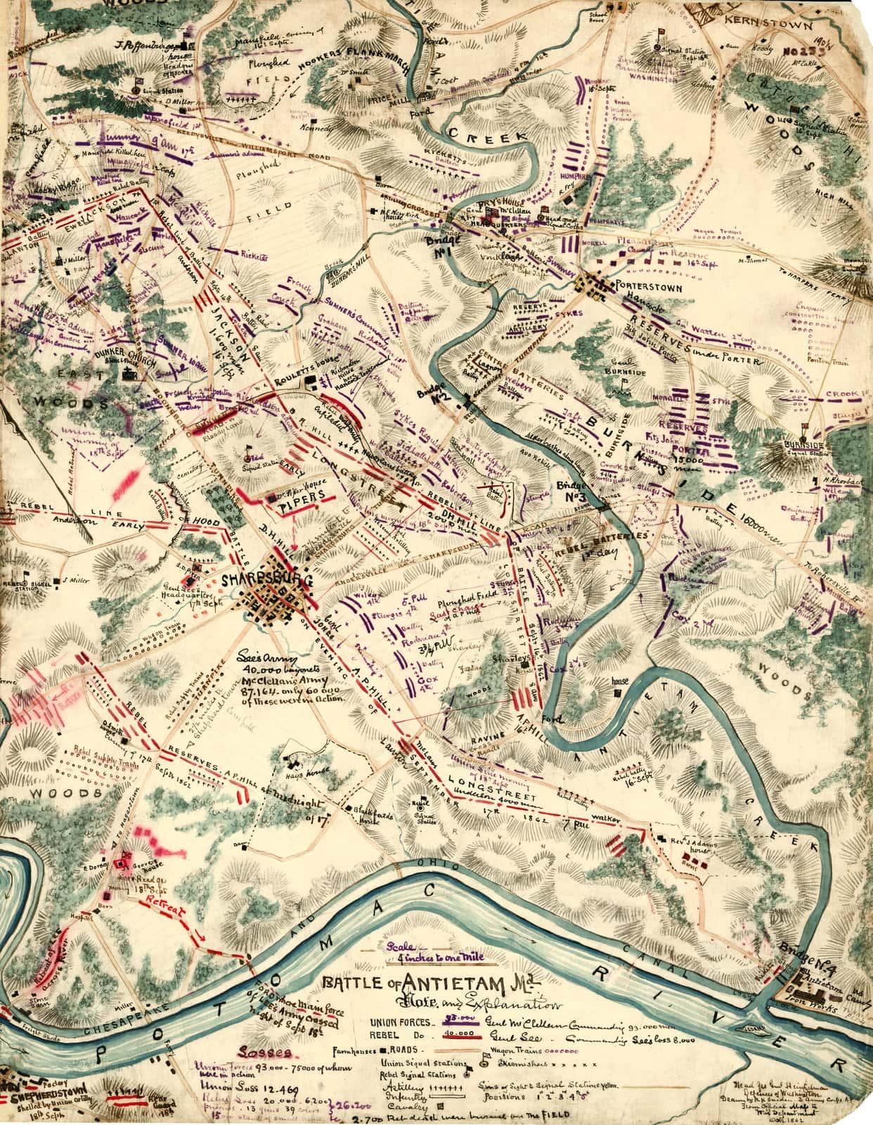 Hand drawn Battle of Antietam map - Sneden
