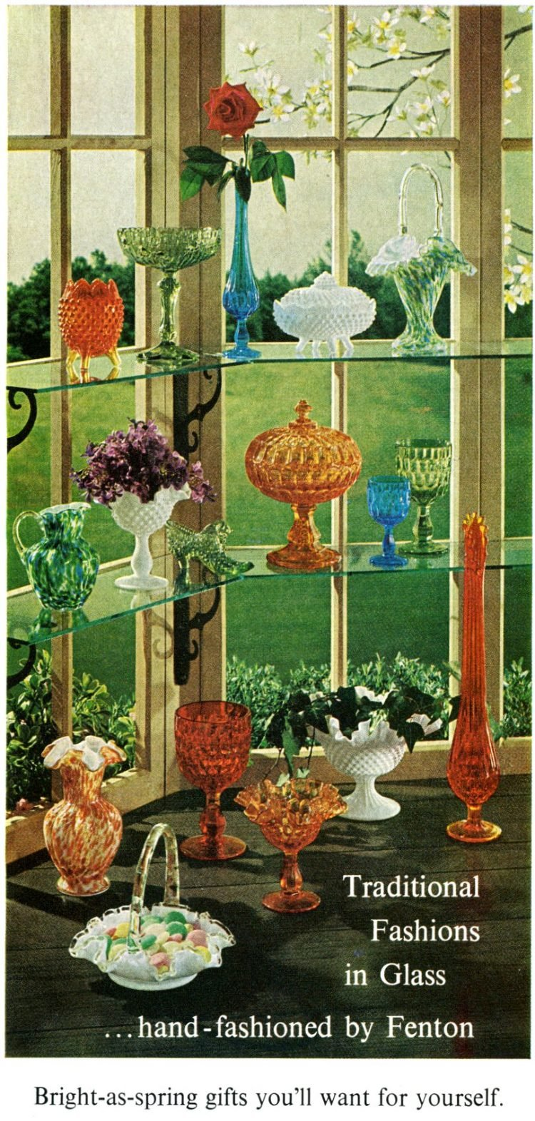 Hand-fashioned traditional glass styles by Fenton (1965)