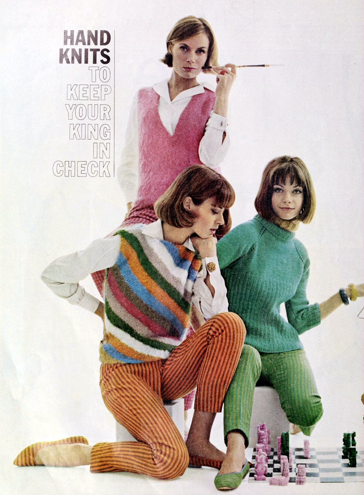 Hand-knit vintage sweater fashions (1963)
