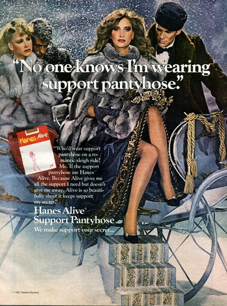 Hanes Alive support pantyhose 1982