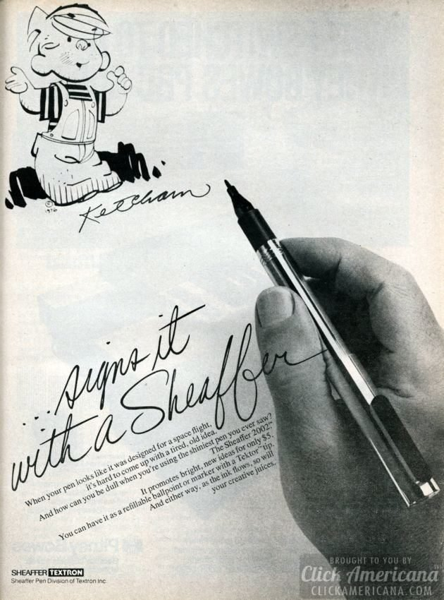 Hank Ketcham (Dennis The Menace) signs it with a Sheaffer pen